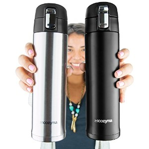 Insulated Travel Mug for Coffee And Tea by Cozyna, Stainless Steel, 16 oz, Black and Silver by...