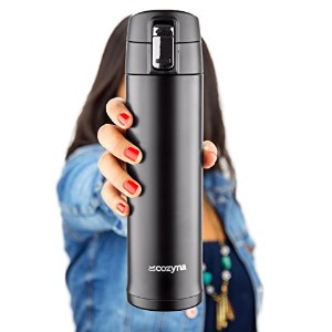 Insulated Travel Mug for Coffee And Tea by Cozyna, Stainless Steel, 16 oz, Black by Cozyna