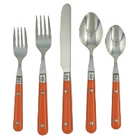 Ginkgo International Le Prix 20-Piece Stainless Steel Flatware Set, Persimmon, Service for 4 by...