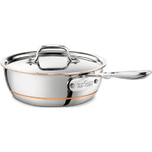 All-Clad 6212 SS Copper Core 5-Ply Bonded Dishwasher Safe Saucier Pan with Lid / Cookware, 2-Quart,...