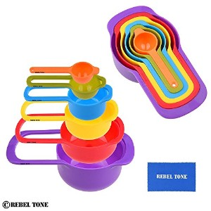 Measuring Cups and Spoons – Set of 6 – ネストされたスペースを節約する – 簡単にできる清潔、食器洗い機 – 耐久性 – Contains : 1 /...
