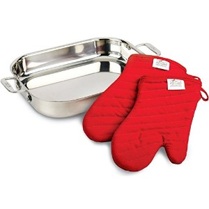 All-Clad 00830 Stainless-Steel Lasagna Pan with 2 Oven Mitts and a Cookbook / Cookware, Silver ...