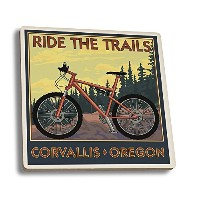 Corvallis, Oregon - Bicycle Ride the Trails (Set of 4 Ceramic Coasters - Cork-backed, Absorbent) by...