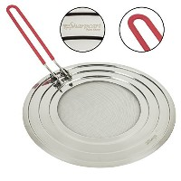 Splatter Screen with Folding Silicone Red Handle - High Quality Stainless Steel - Perfect Cooking...