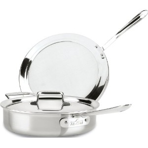 All-Clad BD554045 D5 Brushed 18/10 Stainless Steel 5-Ply Bonded Dishwasher Safe Chicken Fryer with...