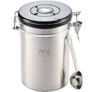 M&C Airtight Coffee Canister with Built-in Valve |Premium Stainless Steel Scoop | 20Oz by M&C Home