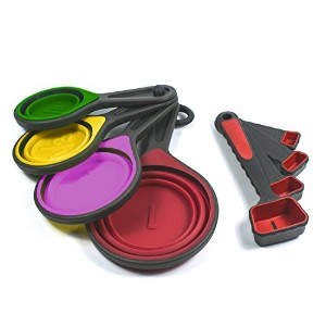 Collapsible Silicone Measuring Cups & Measuring Spoons Set by by Lake Country Products, 8 Piece Set...