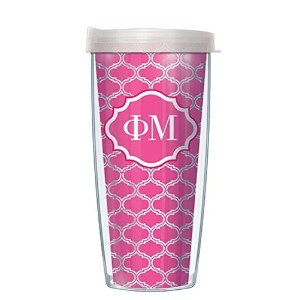 Phi Mu on Clear Roundabout Traveler 16 Oz Tumbler Mug with Clear Lid Lid by Signature Tumblers