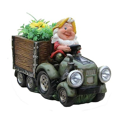 SINTECHNO SNF15177-2 Solar Powered HeadLight Of Gnome Truck Sculpture with Flower Pot, by SINTECHNO