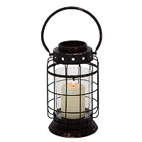 Deco 79 Metal Glass Lantern, 8 by 15-Inch [並行輸入品]