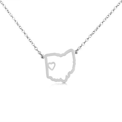 925 Sterling Silver Small Ohio -Home Is Where the Heart Is- Home State Necklace (14 Inches)