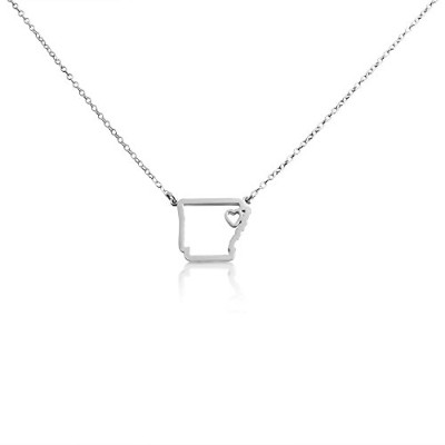 925 Sterling Silver Small Arkansas -Home Is Where the Heart Is- Home State Necklace (22 Inches)