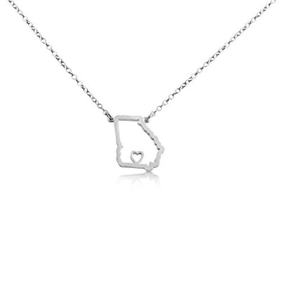 925 Sterling Silver Small Georgia -Home Is Where the Heart Is- Home State Necklace (18 Inches)