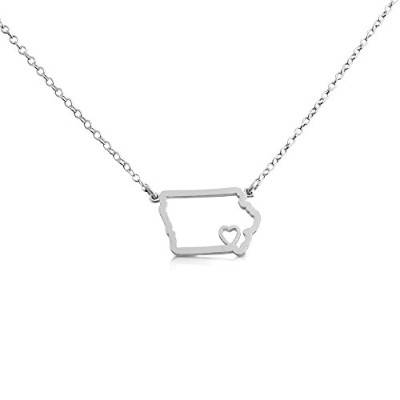 925 Sterling Silver Small Iowa -Home Is Where the Heart Is- Home State Necklace (14 Inches)