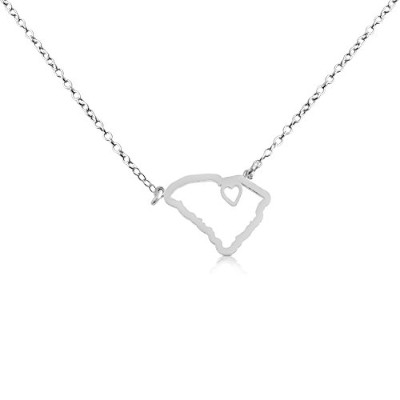 925 Sterling Silver Small South Carolina -Home Is Where the Heart Is- Home State Necklace (14...