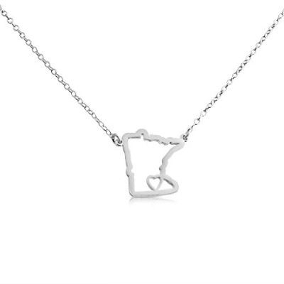 925 Sterling Silver Small Minnesota -Home Is Where the Heart Is- Home State Necklace (16 Inches)