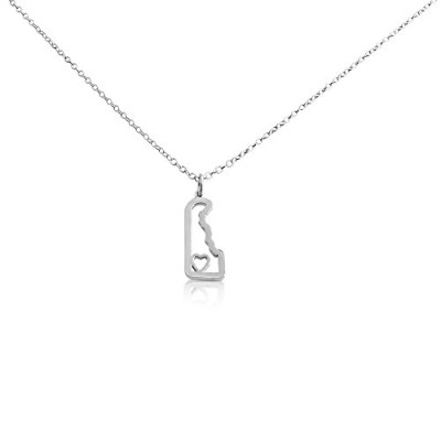 925 Sterling Silver Small Delaware -Home Is Where the Heart Is- Home State Necklace (16 Inches)