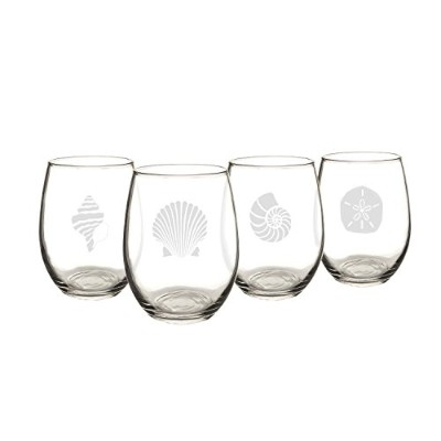 Cathy's Concepts Seashell Stemless Wine Glasses (Set of 4) [並行輸入品]