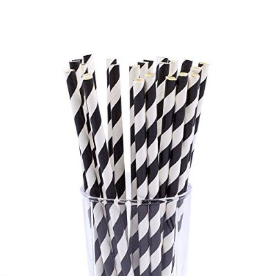 CTIGERS Black and White Striped Biodegradable Drinking Paper Straws for Party Box of 100 by CTIGERS