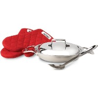 All-Clad BD551508 Brushed d5 Stainless Steel 2-Quart All-Purpose Pan with Oven Mitts / Spoon and...