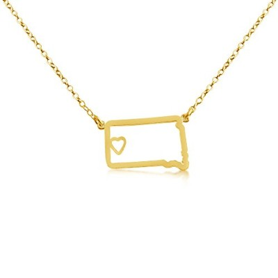 14k Gold Plated Over 925 Sterling Silver Small South Dakota -Home Is Where the Heart Is- Home State...