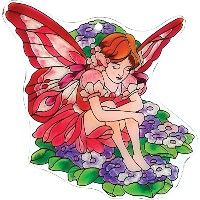 Joan Baker Designs TPF1012 Glass Tile Plaques, Fairy with Impatiens, 8 by 6-Inch [並行輸入品]
