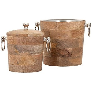 IMAX 71806-2 Makana Wood Bar Buckets (Set of 2), Natural [並行輸入品]