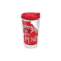 Tervis 1211947 Georgia On My MindラップTumbler withレッド蓋、16オンス、クリア