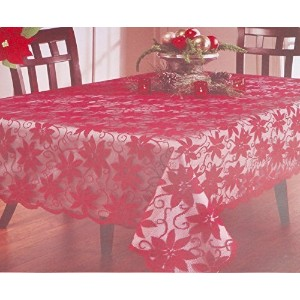 """Benson Mills Christmas Red Poinsettia Flower Lace Easy Care Fabric Tablecloth Overlay Linens (70""""..."""