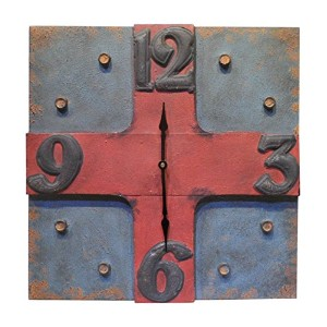 HomeView Design Square Shape Clock with an Industrial Feel [並行輸入品]