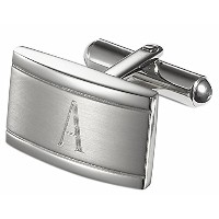 Visol Taurus PersonalizedステンレススチールCufflinks with Engraved Letter A