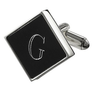 Visol Grove PersonalizedブラックMatte Cufflinks with EngravedレターG