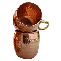 Rastogi Handicrafts Mug 100% Pure Copper Hammered Best Quality Lacquered Finish (2) [並行輸入品]