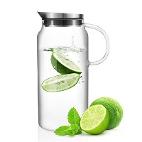 Veesun Glass Water Pitcher with Stainless Steel Lid and Built-In Fruit Strainer for Flavorful...