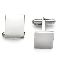 Engravable Polished長方形Cuff Links inステンレススチール