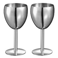 Visol Products Antoinette Wine Glass (Set of 2), Stainless Steel [並行輸入品]