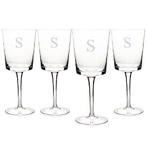 Cathy's Concepts Contemporary Wine Glasses, Monogrammed Letter S, Set of 4 [並行輸入品]