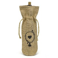 Hortense B. Hewitt Burlap Wine Bag, Globe with Heart [並行輸入品]