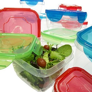 20 Piece Set Food Storage Container With Airtight Snap Locking Lids Square Plastic Nesting BPA Free...