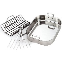 All-Clad 501631 Stainless Steel Large Roti Combo with Rack and Turkey Lifters Cookware, Silver ...