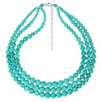 "スターリングシルバー卒業4 – 10 mm Graduated Simulated Turquiose 3-rows Necklace , 16 "" + 3 "" Extender"