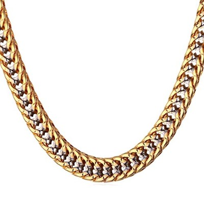 U7 Two Tone Men 6MM Wide Platinum & 18K Gold Plated Franco Curb Chain Necklace
