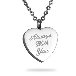 """HooAMI """" Always with You」ハートMemorial Urnステンレススチールネックレス鋼火葬ジュエリー記念品ペンダントwith Free Engraving"""