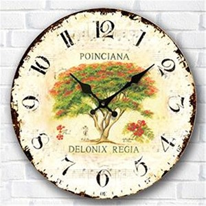 LOVE(TM)12 inch Attractive Large Shabby Chic Rustic Wall Clock. 'Roses De Paris' with Flowers Rose...