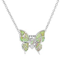 925 Sterling Silver Pink Simulated Opal Butterfly Womens Pendant Necklace with Chain