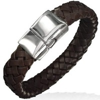 Brown Genuine Leather Braided Silver-Tone Stainless Steel Wristband Mens Bracelet with Clasp