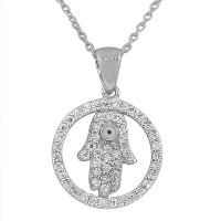 925 Sterling Silver Hamsa Evil Eye CZ Pendant Necklace with Chain