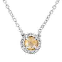 925 Sterling Silver Small Light Brown White CZ Pendant Necklace with Chain