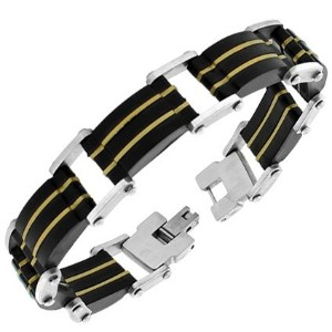 Stainless Steel Silver Black Yellow Gold-Tone Link Chain Mens Bracelet with Clasp
