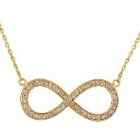 925 Sterling Silver Yellow Gold-Tone Infinity CZ Womens Pendant Necklace with Chain